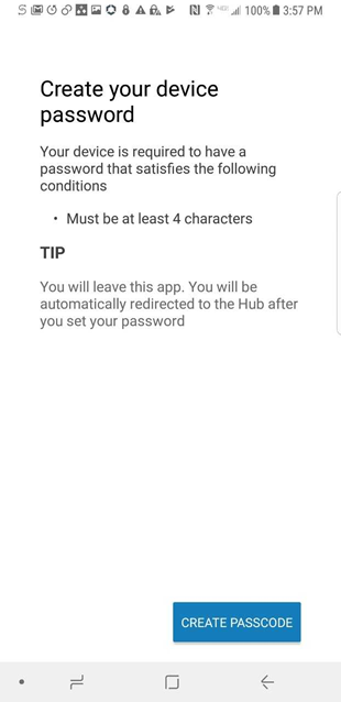 message that you need to create a password of at  least 4 characters