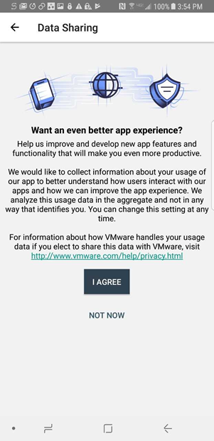 agree to share information about your usage of the app with VMware