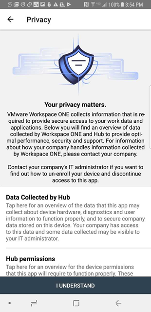 privacy page describing what Hub information Hub collects