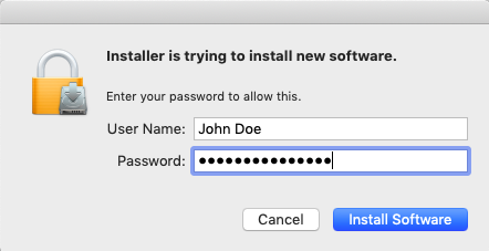 enter your administrator password so you can install software
