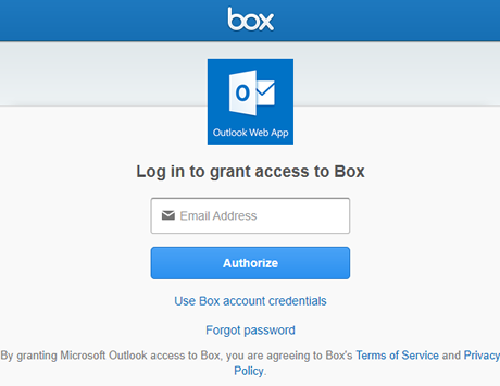 enter your Stanford email address and then click Authorize to grant Outlook on the web access to Box