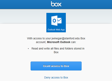grant Outlook on the web read and write access to all files and folders stored in Box