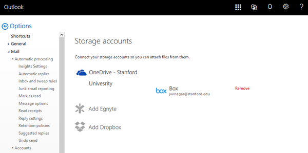 Box is listed as one of your storage accounts
