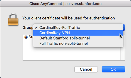 Mac: Connect to the Stanford VPN with a Cardinal Key