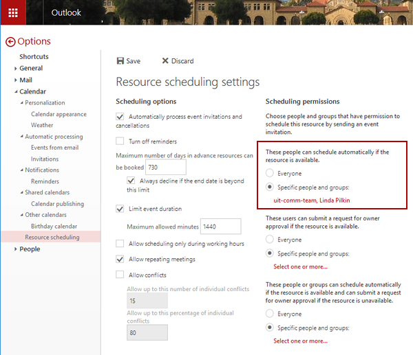 resource scheduling settings