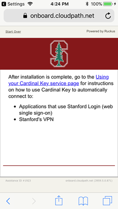 message that installation is complete; go to Cardinal Key service pages for instructions