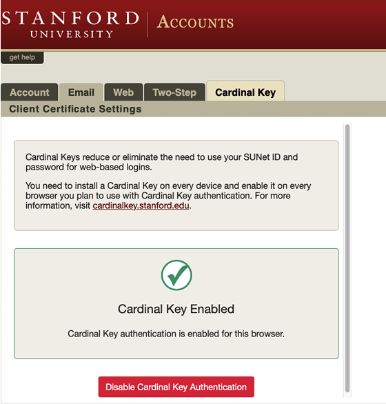 Cardinal Key tab in accounts is used to enable or disable Cardinal Key for this browser