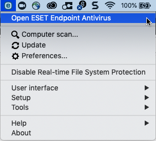 Image of ESET endpoint antivirus screen