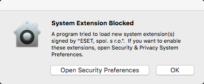 Screen showing that system extension is blocked