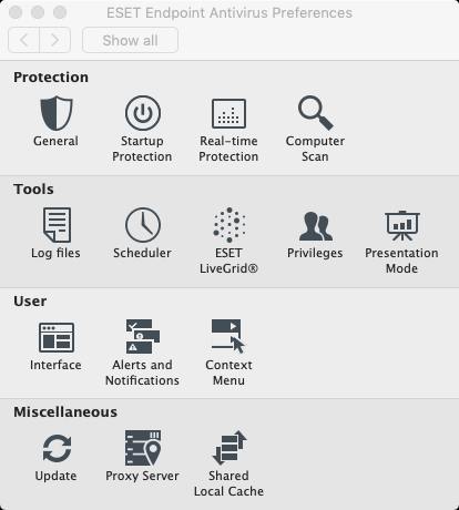 Screen showing ESET preferences