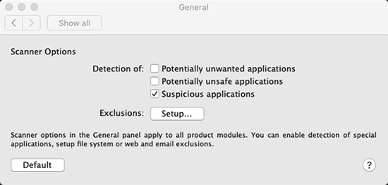 Screen showing button to set up exclusions