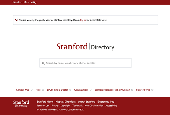 StanfordWho public landing page