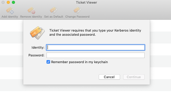 Ticket viewer screen with dialog box to enter SUNet ID and password