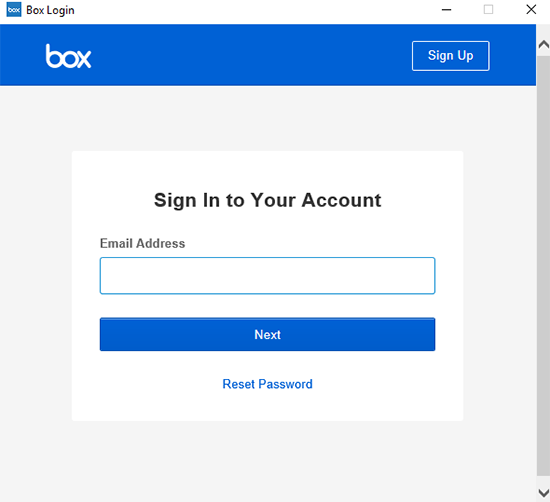 Window to sign in to your account