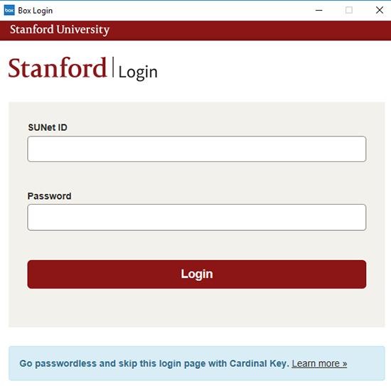 Stanford login page