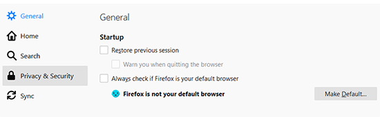 Firefox privacy and security screen