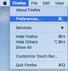 Firefox preferences screen