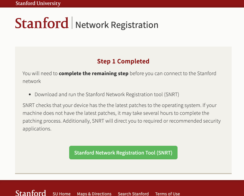 link to download the Stanford Network Registration Tool