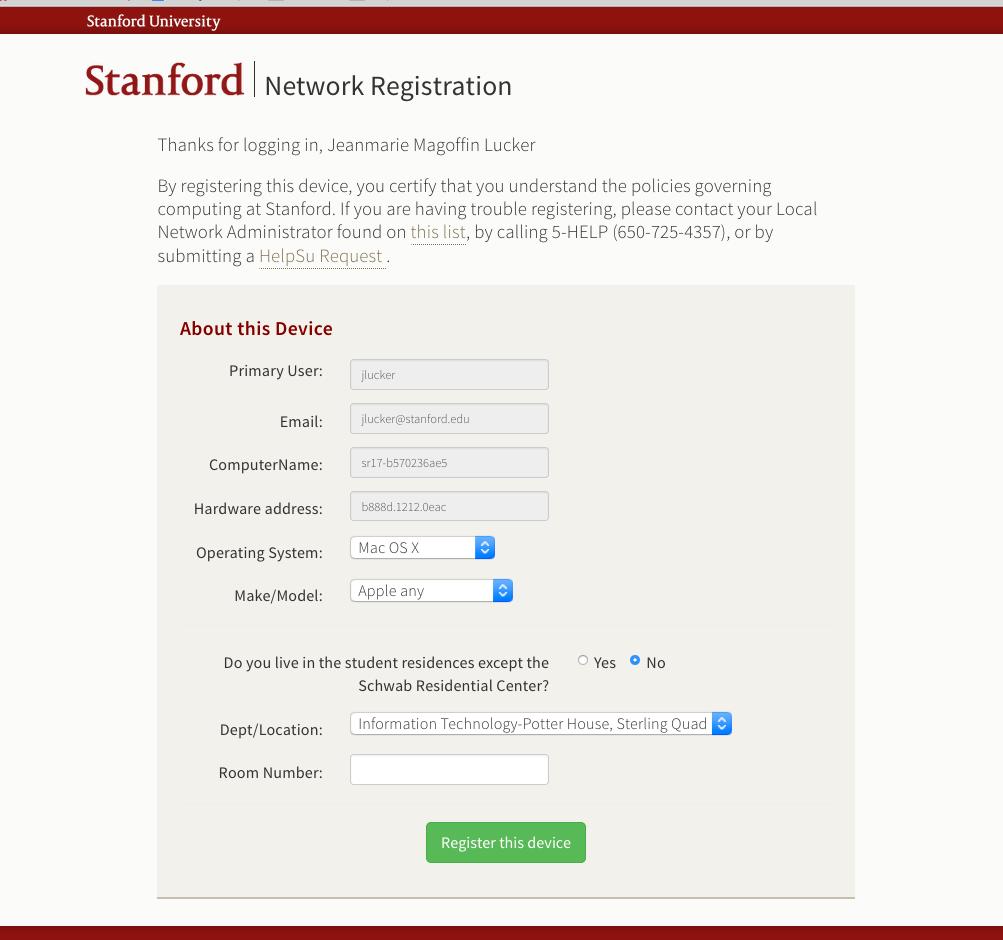 self-registration description page
