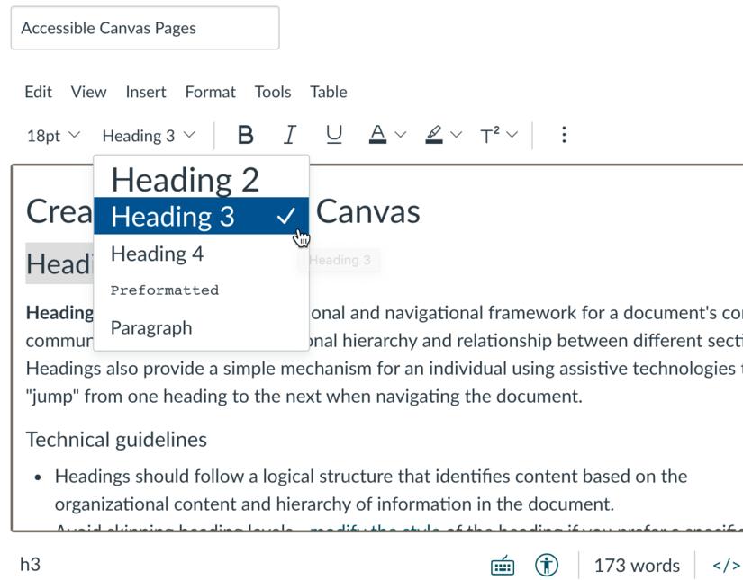 Screenshot of Canvas heading menu