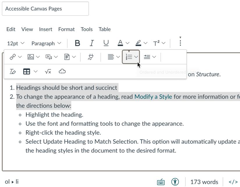 Screenshot of Canvas lists options