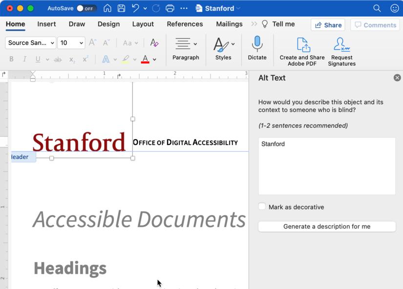 Screenshot Microsoft Word 365 alt text description field