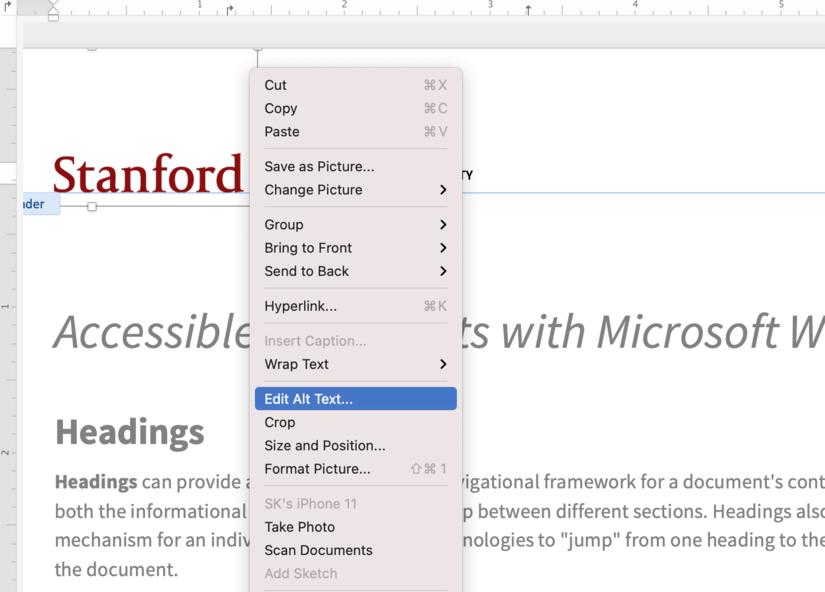 Screenshot Microsoft Word 365 alt text menu