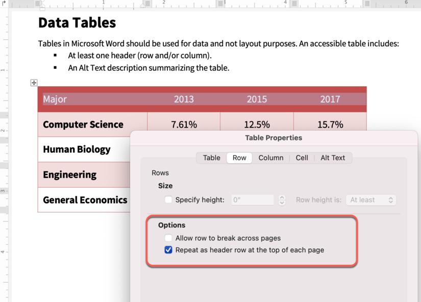 Screenshot Microsoft Word 365 table properties dialog box