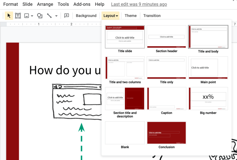 Screenshot Google Slides layout menu
