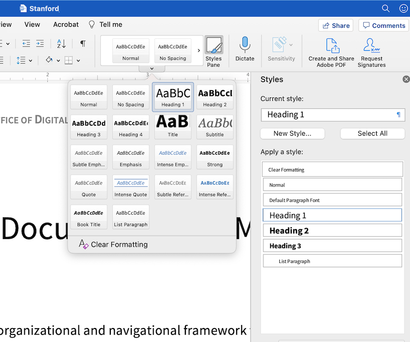 Screenshot Microsoft Word heading style menu