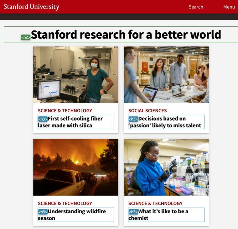Screenshot of Stanford University website with heading elements identified visually.
