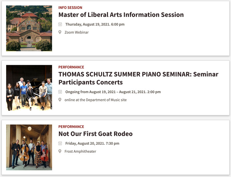 Events page from Stanford with redundant images