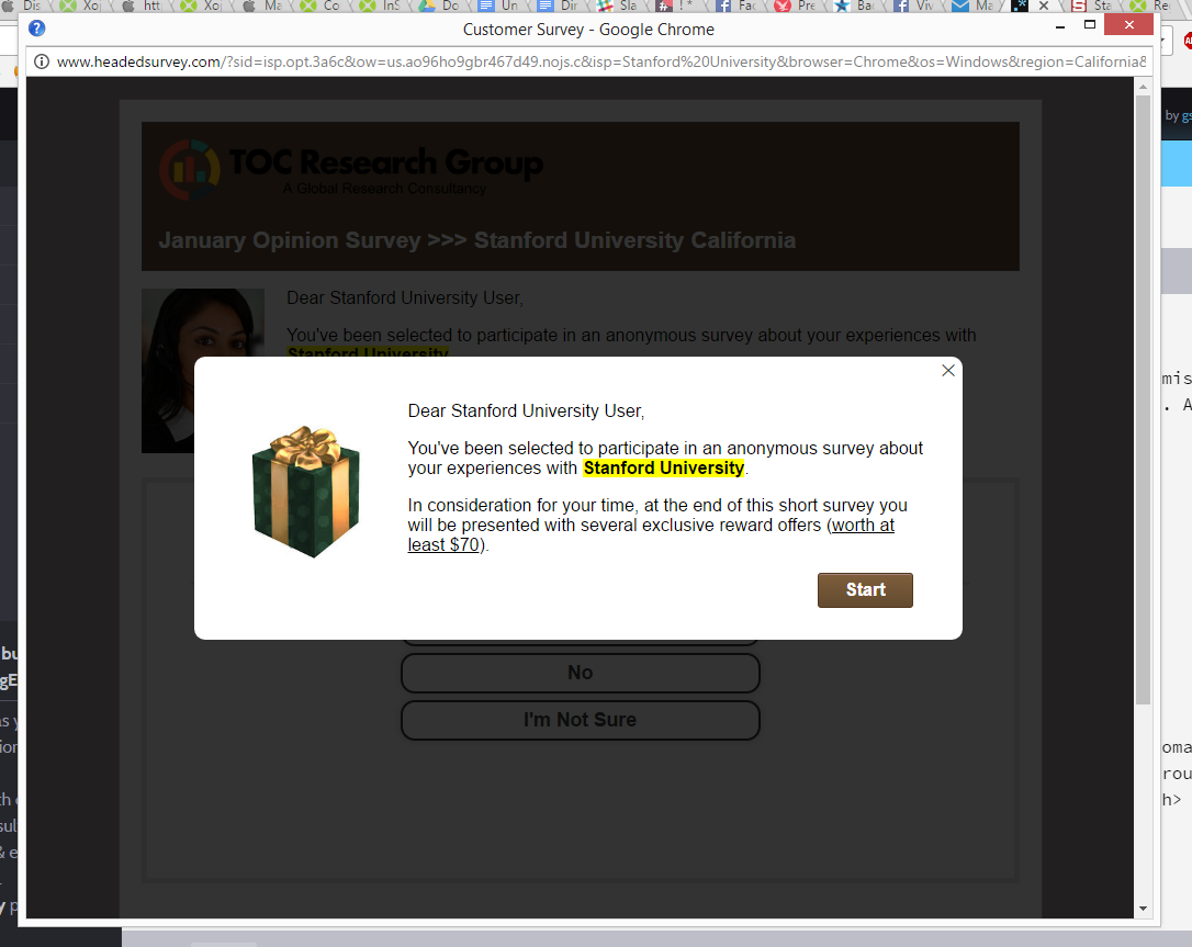 Screenshot of pop-up window that shows a survey used for phishing