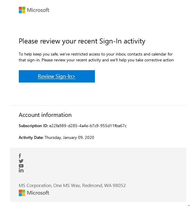 Fake Microsoft email