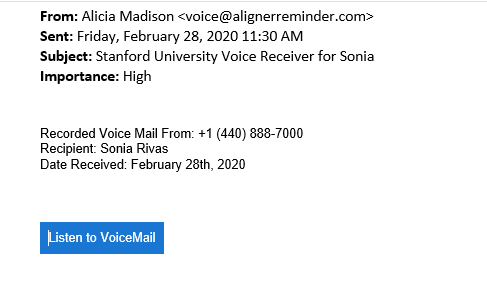 Fake voice mail