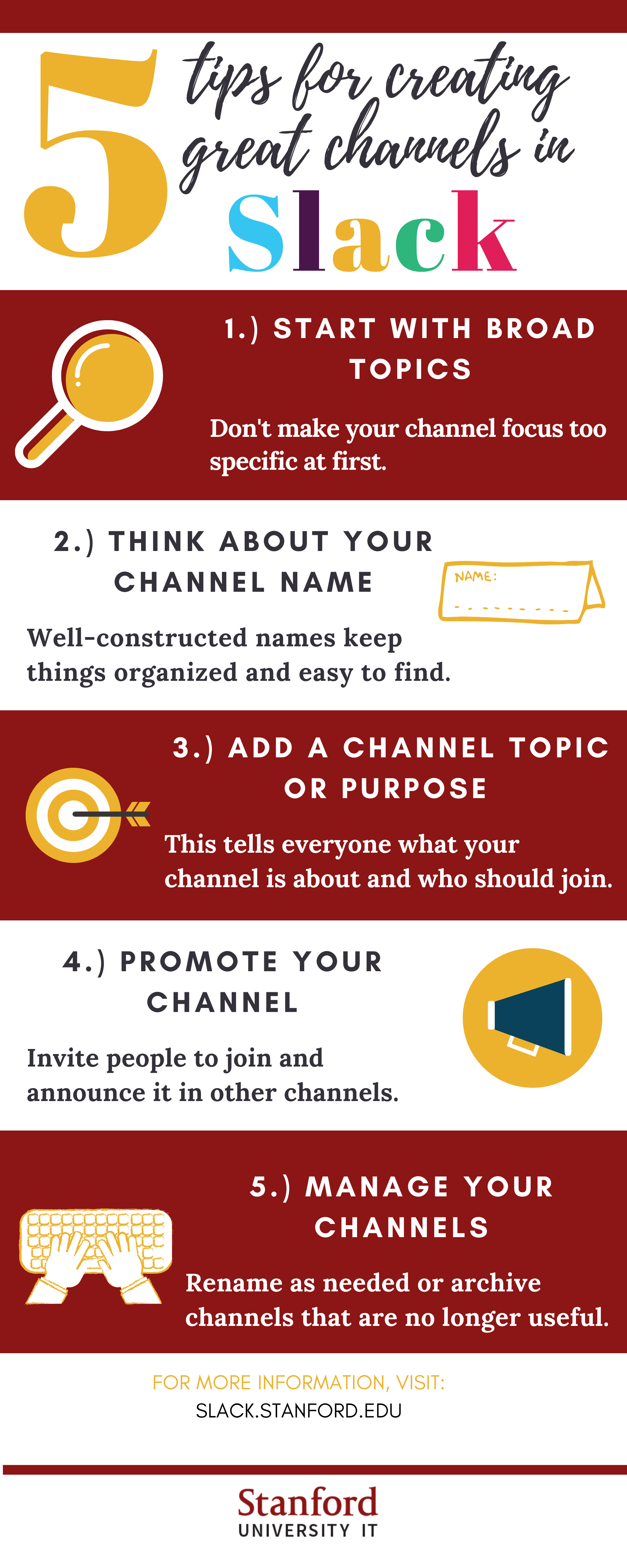 Infographic showing five tips for creating channels in Slack. Described below.