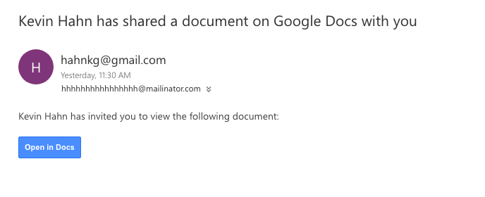 screenshot of phishing example