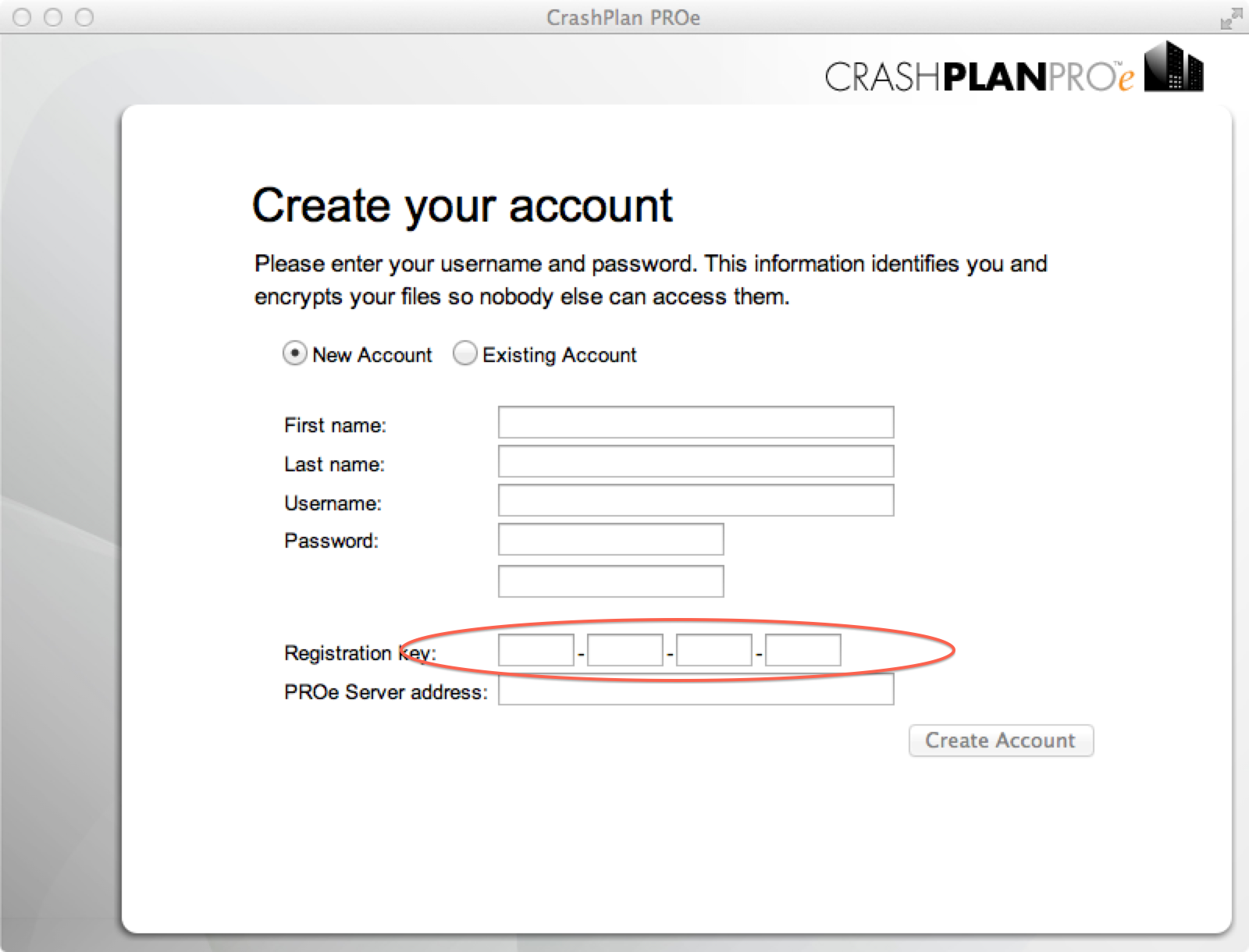 Create your account asks for registration key; stop and contace your IT support team