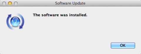 The software was installed; click OK