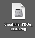 CrashPlan file in finder window; double-click