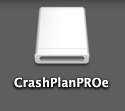 CrashPlan disk image in finder window; double-click