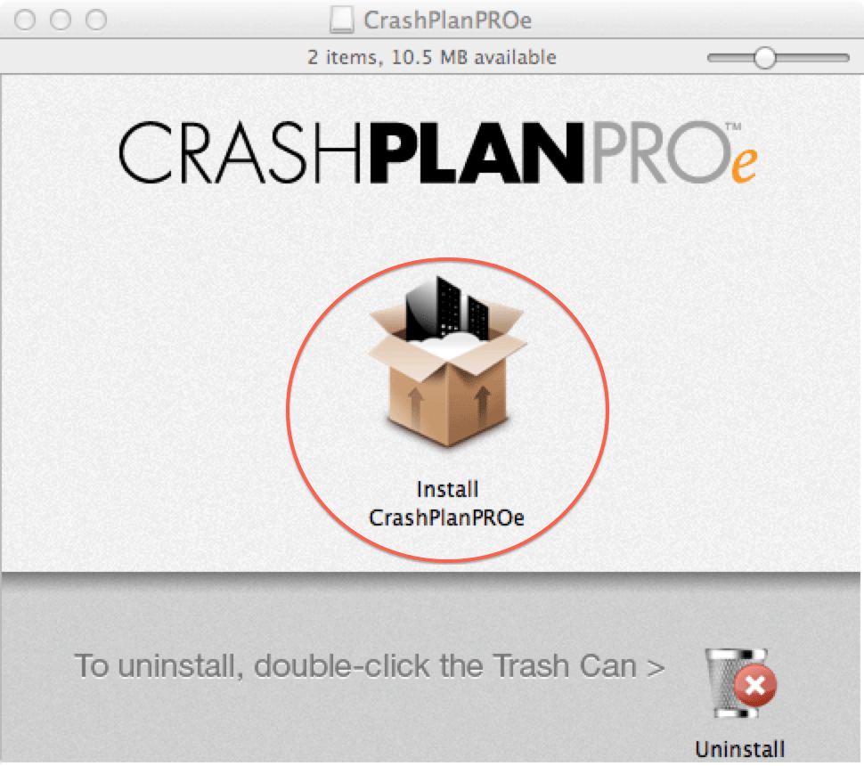 CrashPlanPROe window: Double-click Install CrashPlanPROe