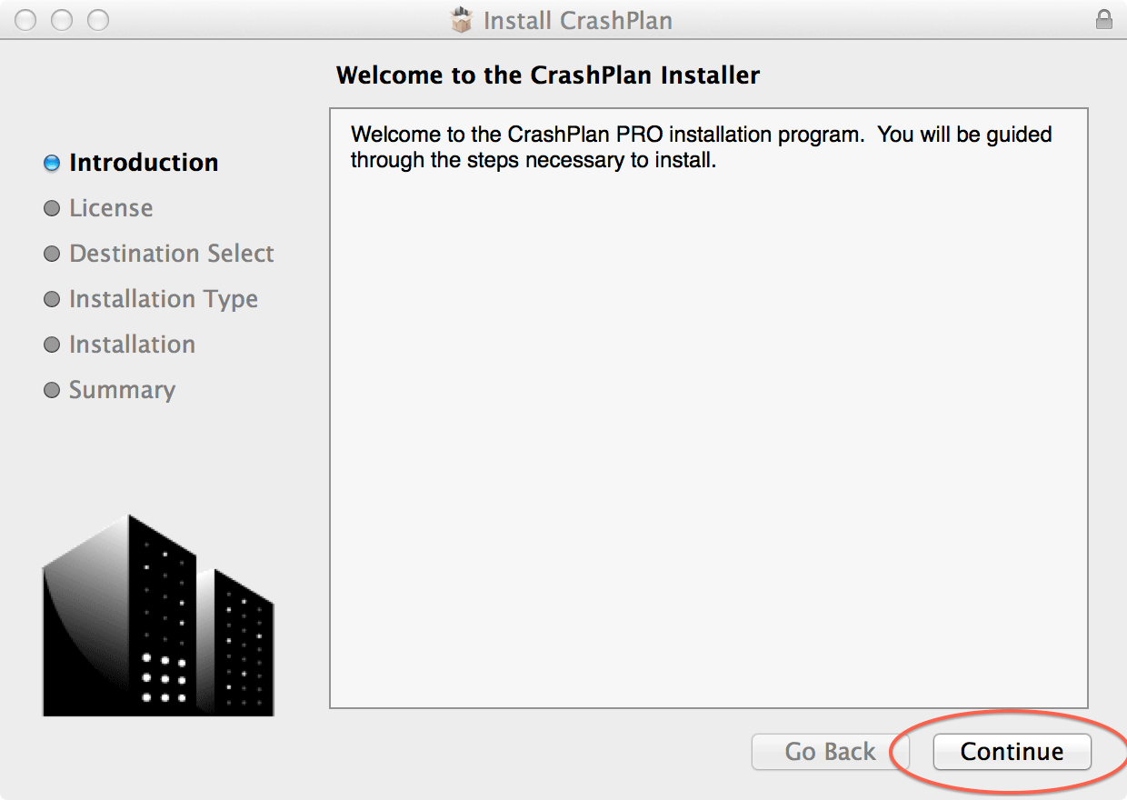 Welcome the the CrashPlan Installer; click Continue
