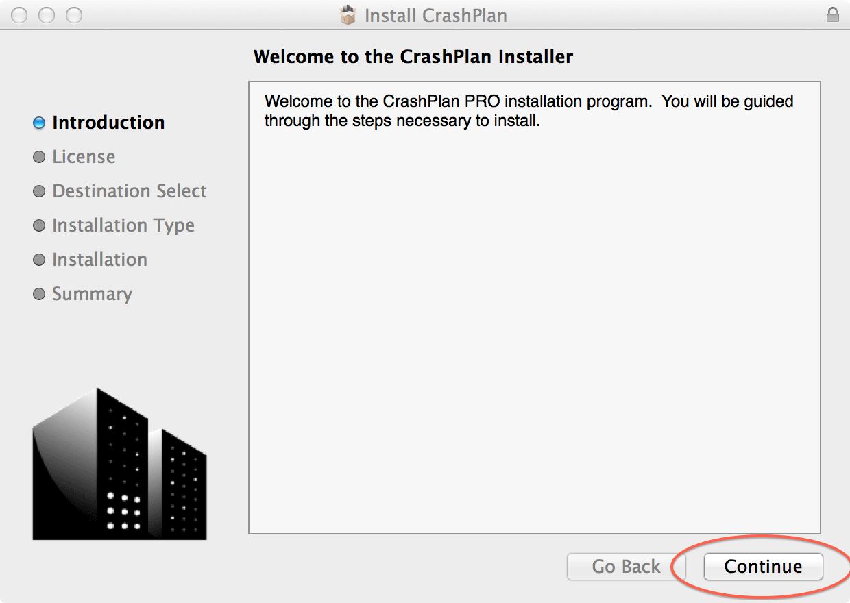 Welcome the the CrashPlan Installer; click Continue