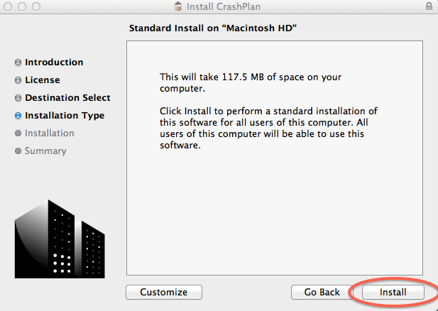 Standard Install on Macintosh HD; click Install