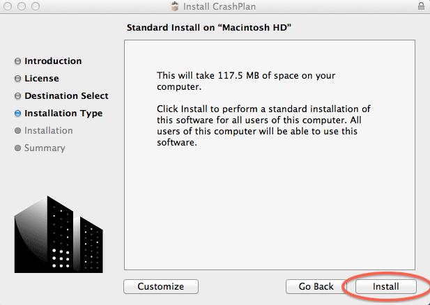 Standard Install on Macintosh HD; click Install