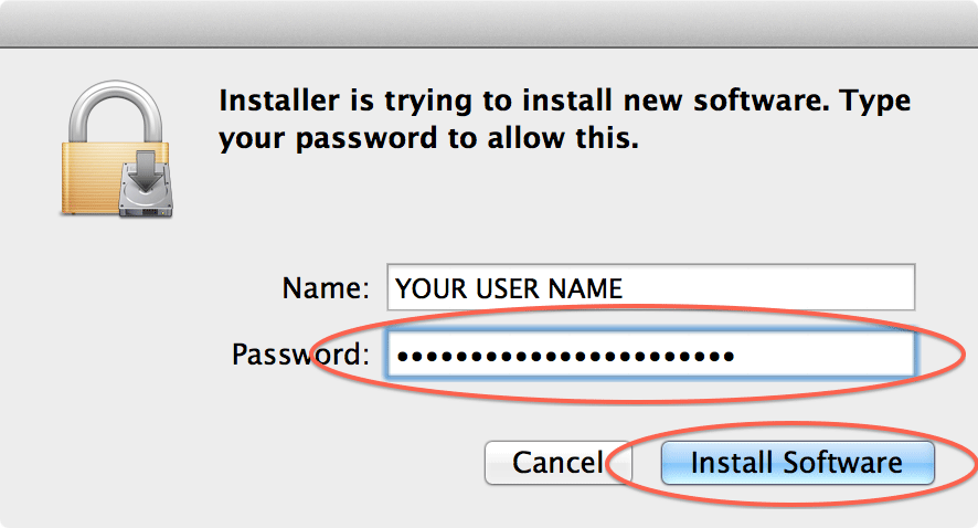 Enter your system password and click Install Software