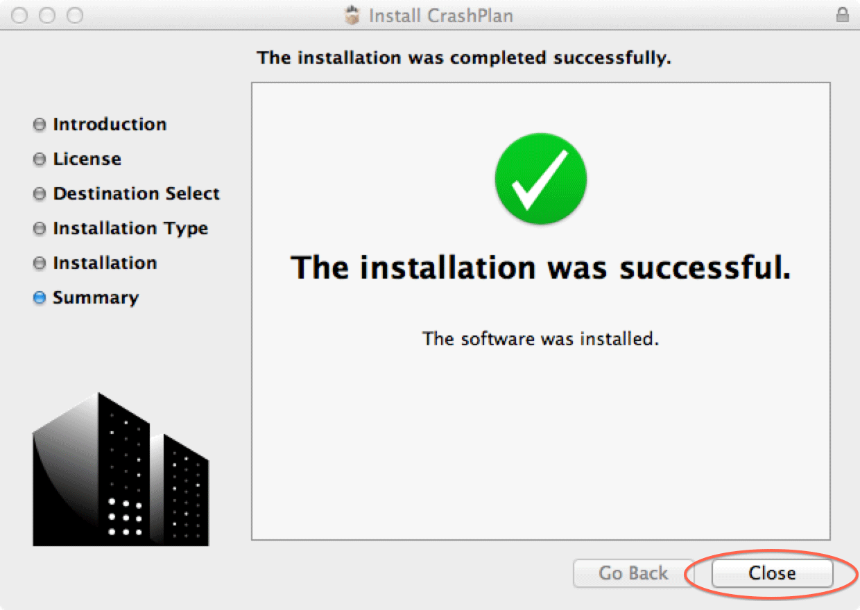 The installation was completed successfully. Click Closed.
