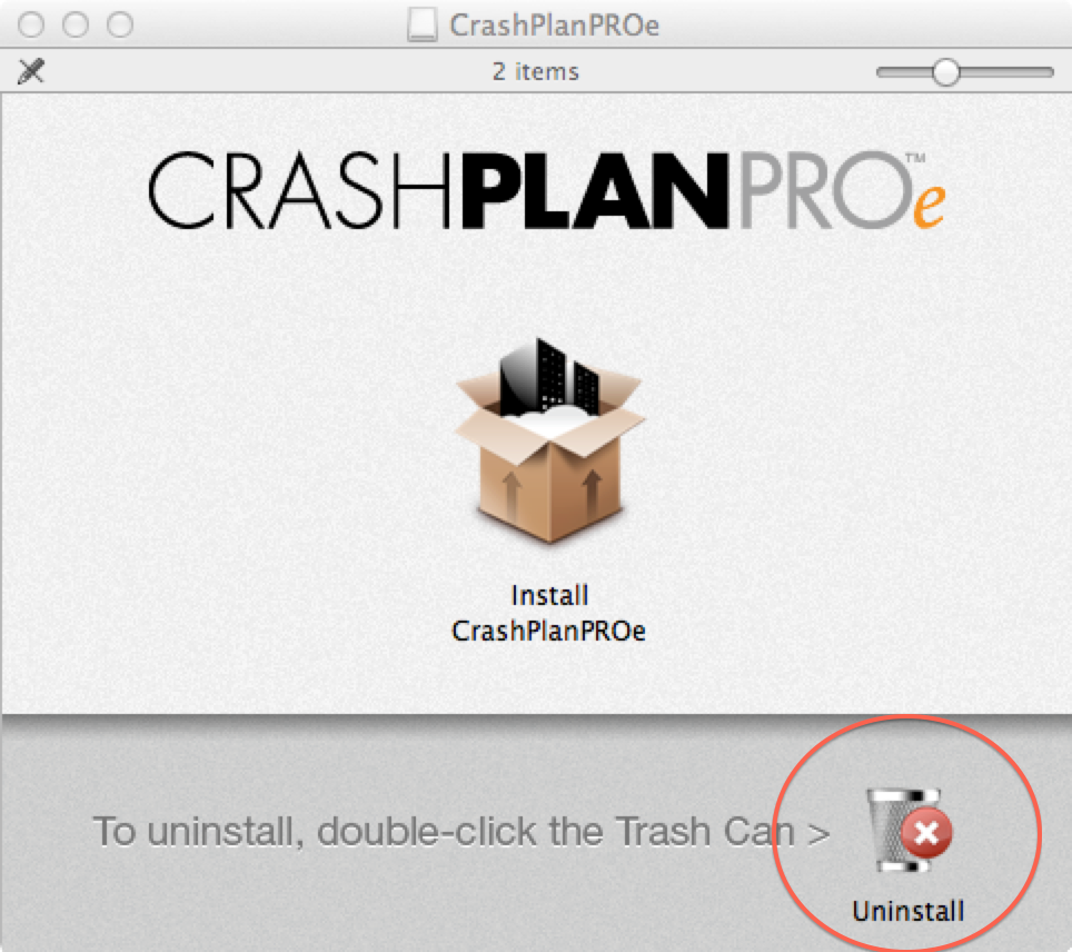 Uninstall trash can icon; double-click