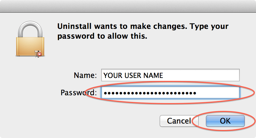 Enter your administrator password and click OK